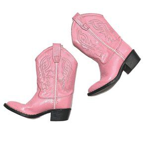 Old West Pink Leather Cowboy Boots